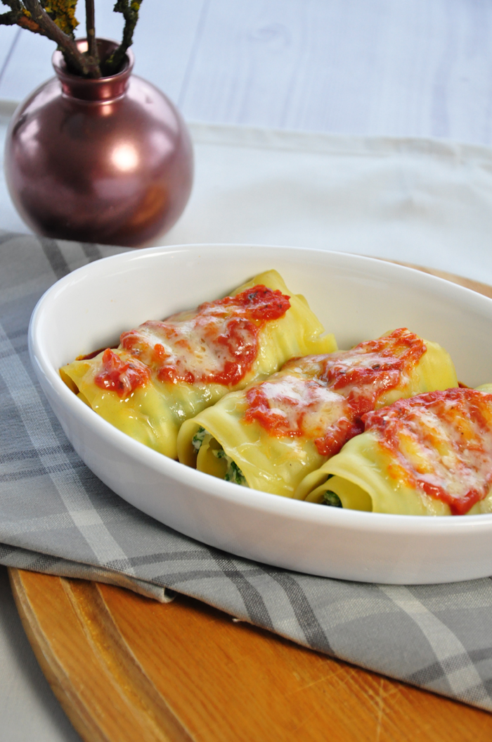 vegetarische Spinat-Ricotta Lasagne Rolls