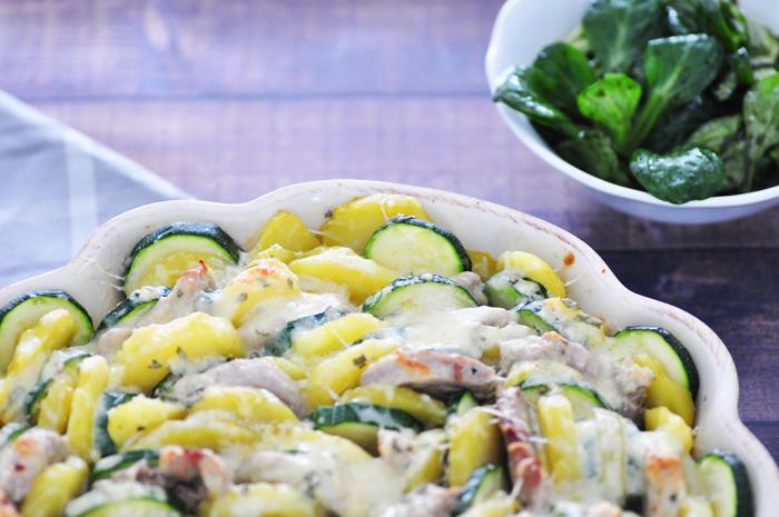 Rezept Kartoffel Zucchini Gratin mit Schweinefilet