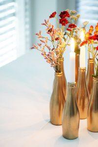golden bottle vases