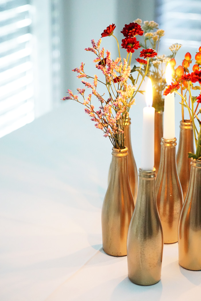 golden bottle vases