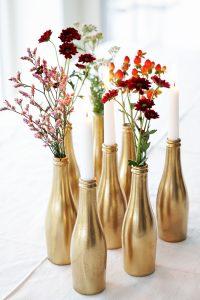 small golden vases bottles party diy