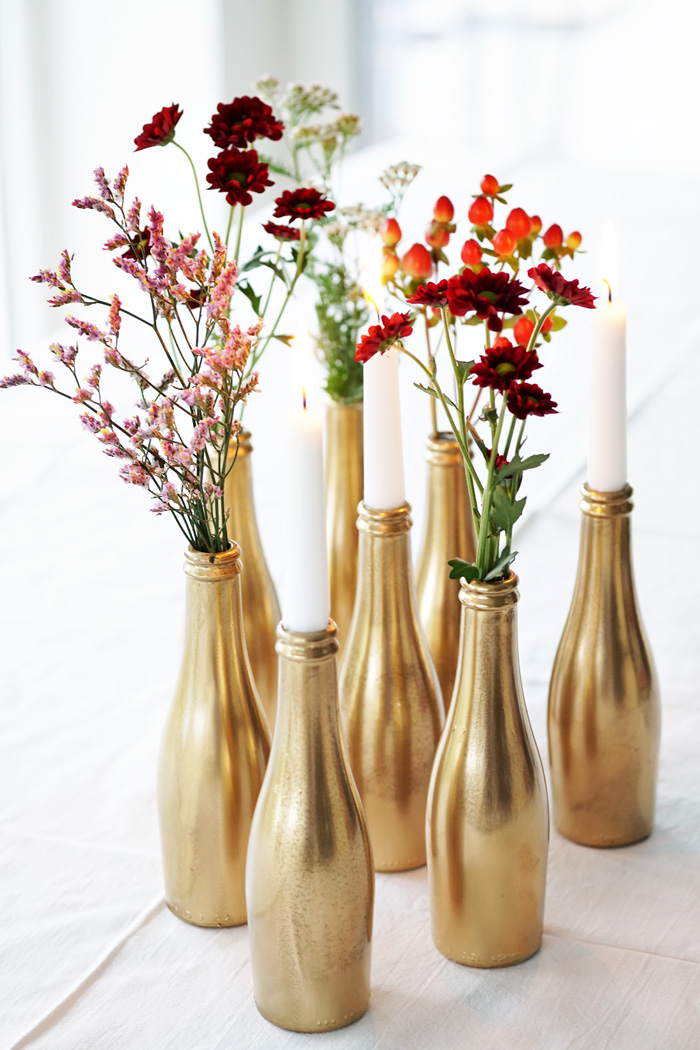 small golden vases bottles party diy