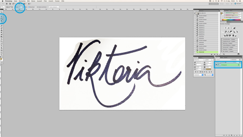 Blog Logo in Handschrift Schritt 5-markierung