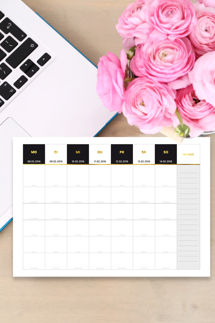 Blogger Kalender Blogpost Planer 2016