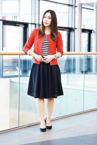 outfit midirock streifenshirt 1