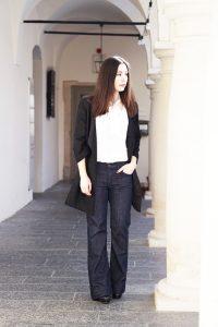 Fashionblog Wide Leg Jeans Schluppenbluse 2