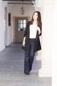Fashionblog Wide Leg Jeans Schluppenbluse 3