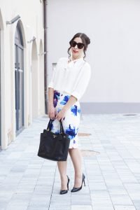 7 ways to war Blumenmuster Rock Business Outfit 5