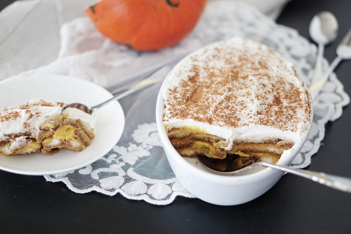 Leichtes Kuerbis Tiramisu mit Joghurt ohne Ei