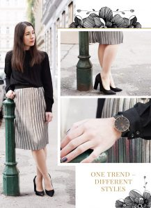 One Trend Different Styles Outfit Metallic Faltenrock silber Kombination 8