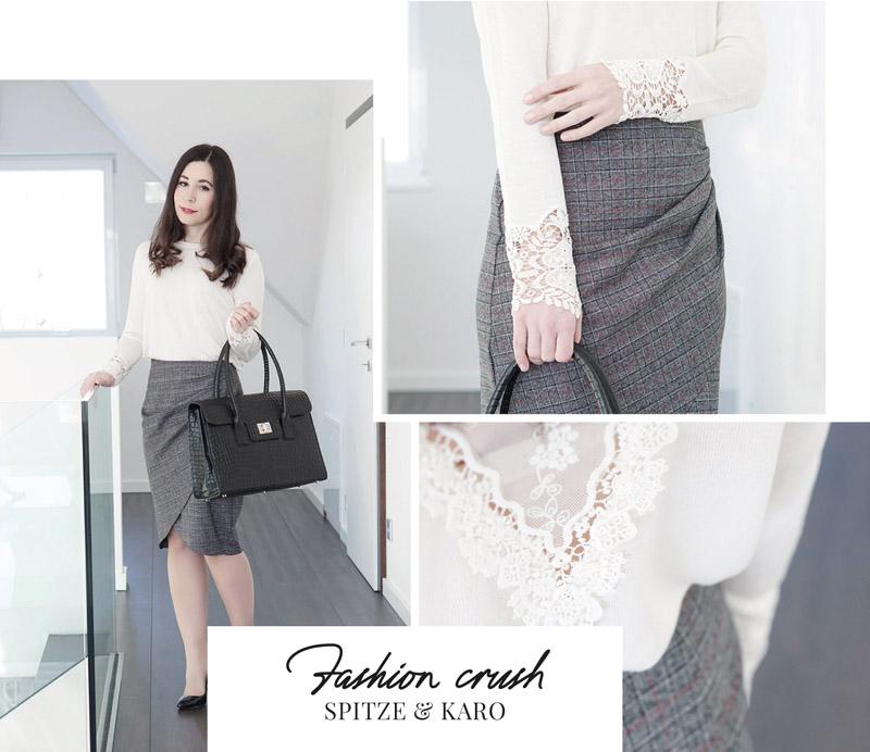 Business Outfit Bleistiftrock und Pullover mit Spitze