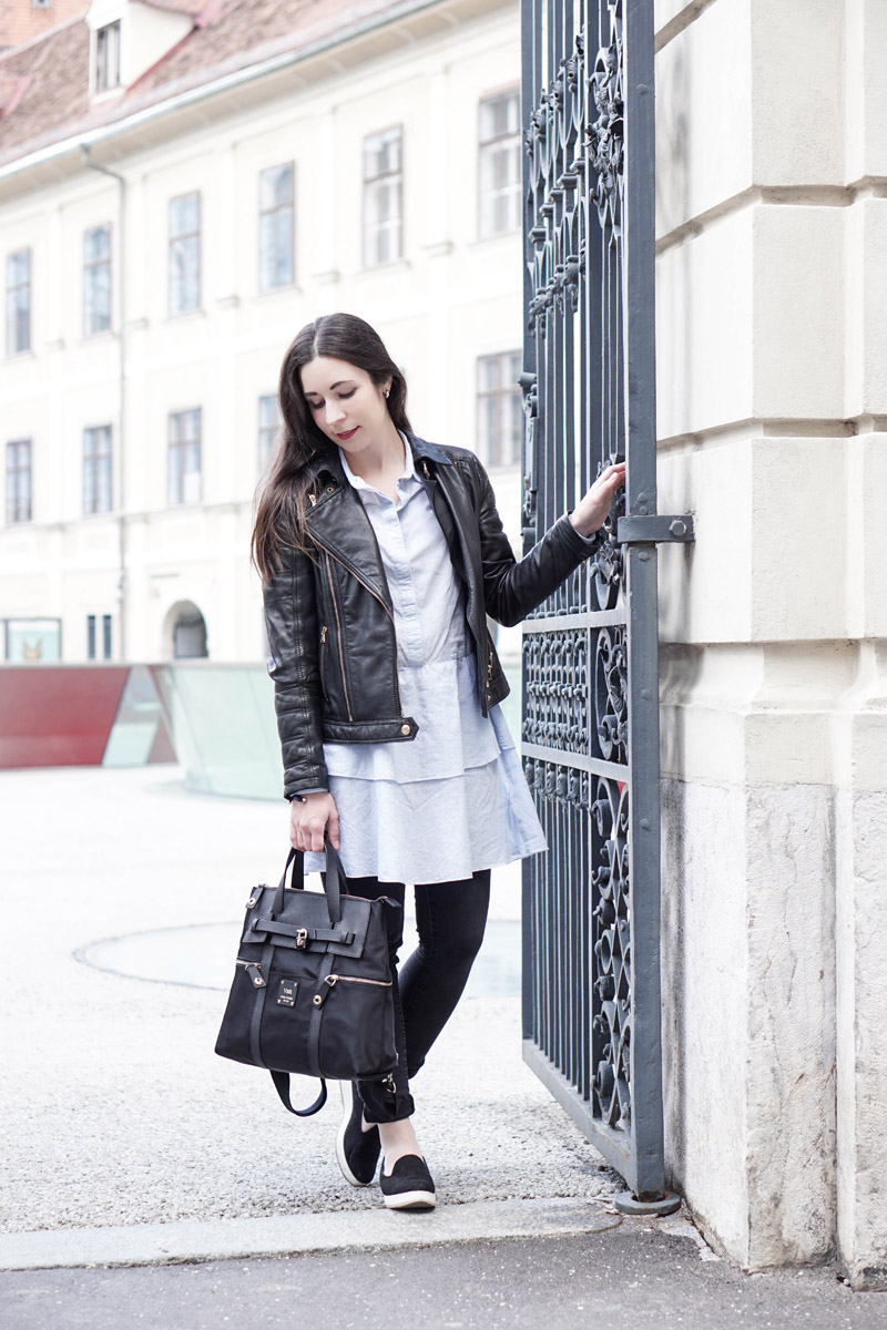 7 ways to wear – Lederjacke und Blusenkleid 2