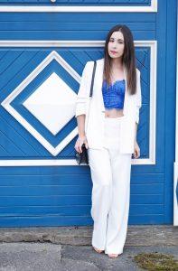 One Trend Different Styles Wide Leg Pants – weisser Hosenanzug