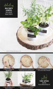 Die DIY Idee: Kräuter- oder Blumenampel selber machen. Eine Schritt für Schritt Anleitung.