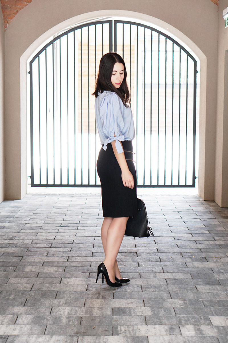 Business Outfit mit Statement Aermel