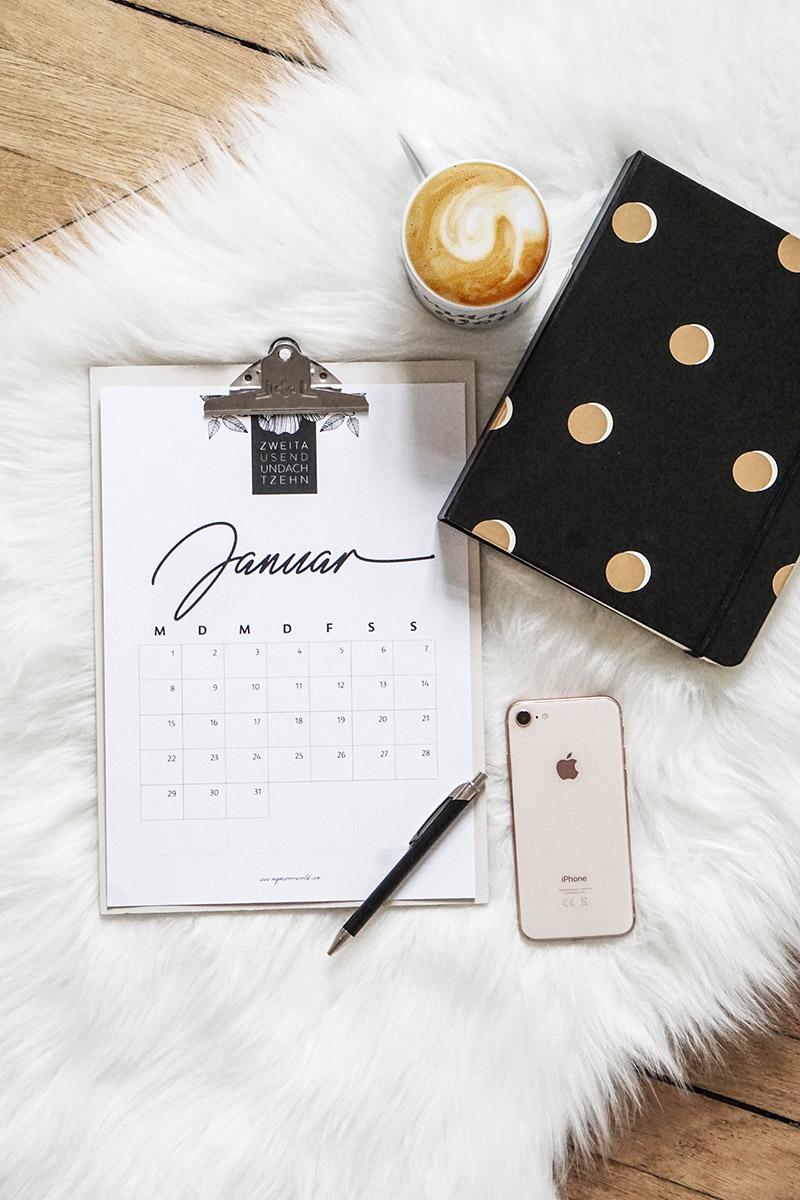 DIY Kalender 2018 zum Ausdrucken – free printable calendar 2018