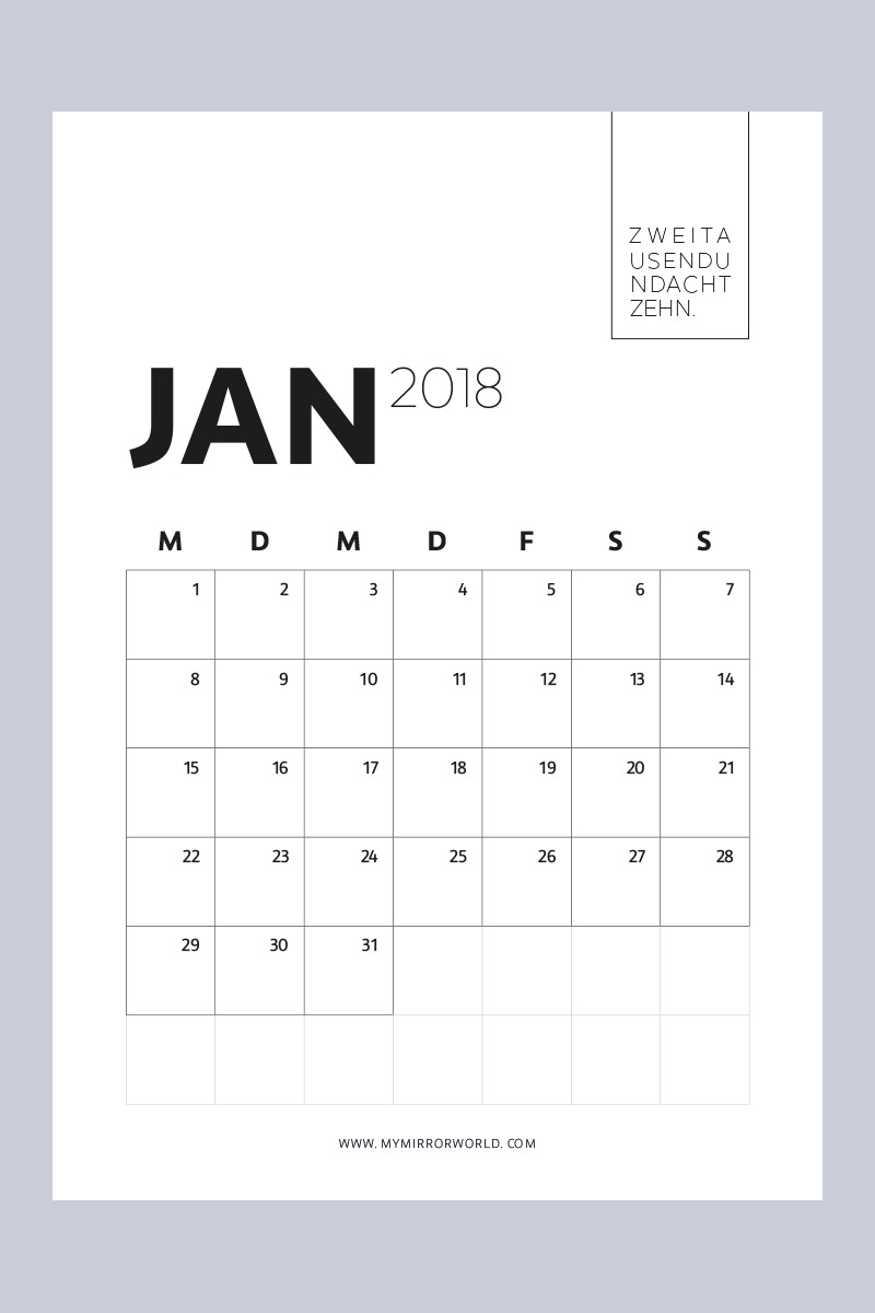 kalender 2018 zum ausdrucken free printable calendar 2018 6 my mirror world. Black Bedroom Furniture Sets. Home Design Ideas