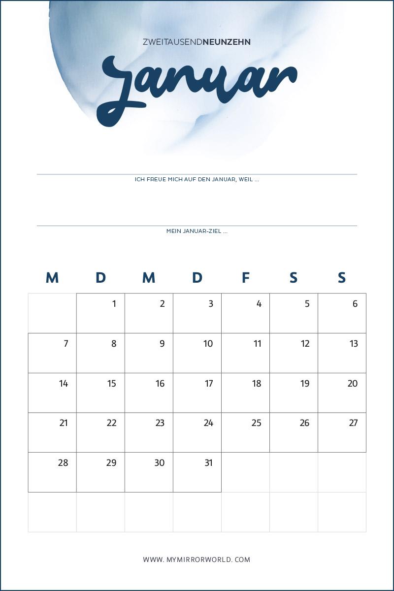 Kalender 2019 zum Ausdrucken und Ziele definieren und erreichen