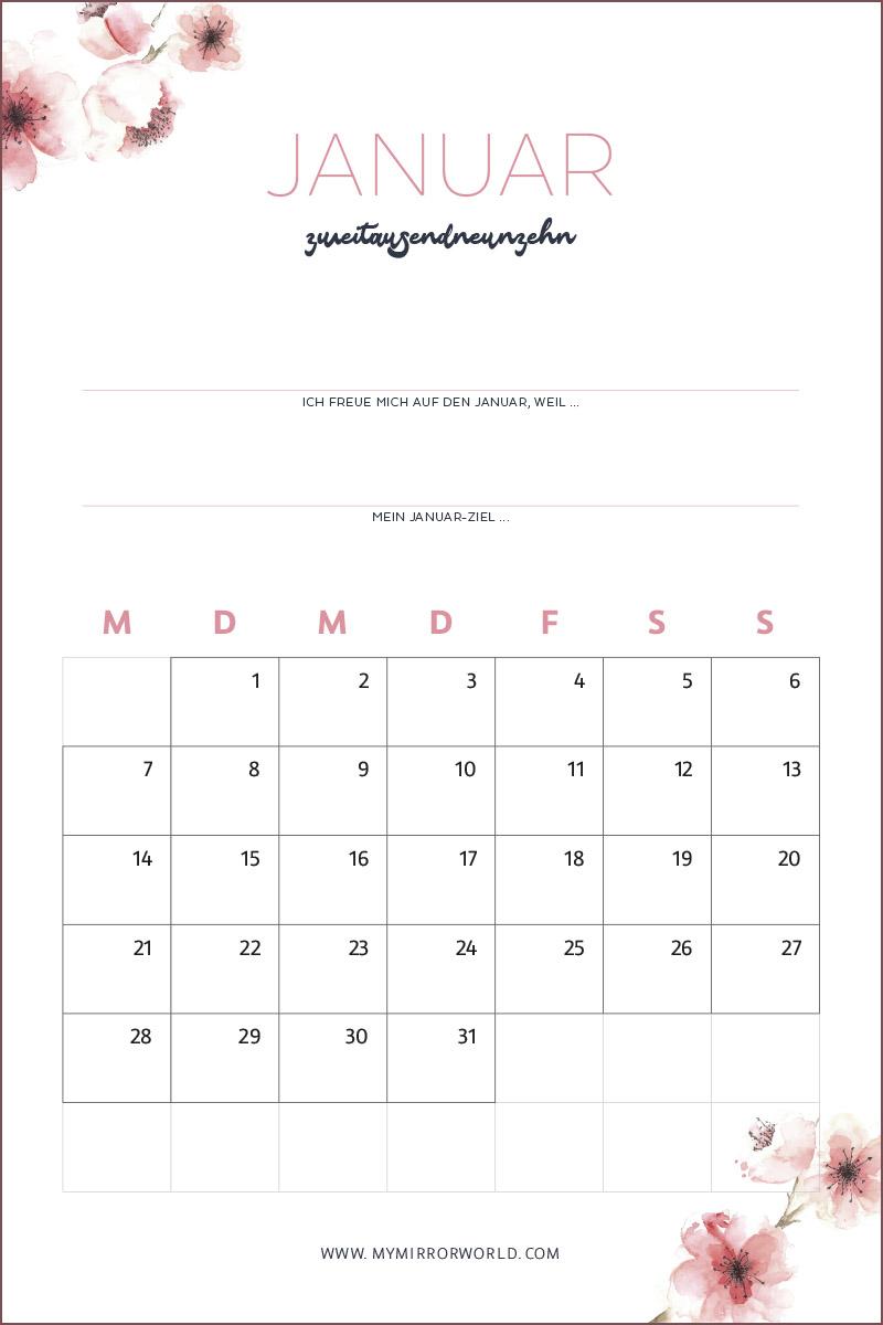 Kalender 2019 Zum Ausdrucken Inkl Anleitung Für Mehr Achtsamkeit