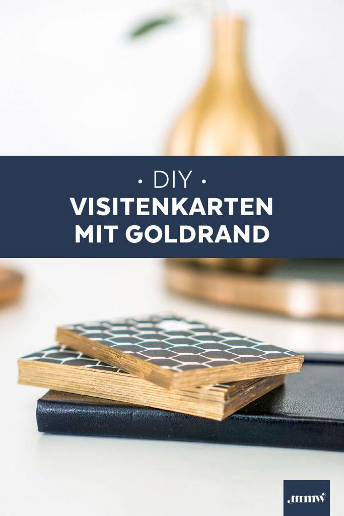 DIY Visitenkarten mit Goldrand selber machen